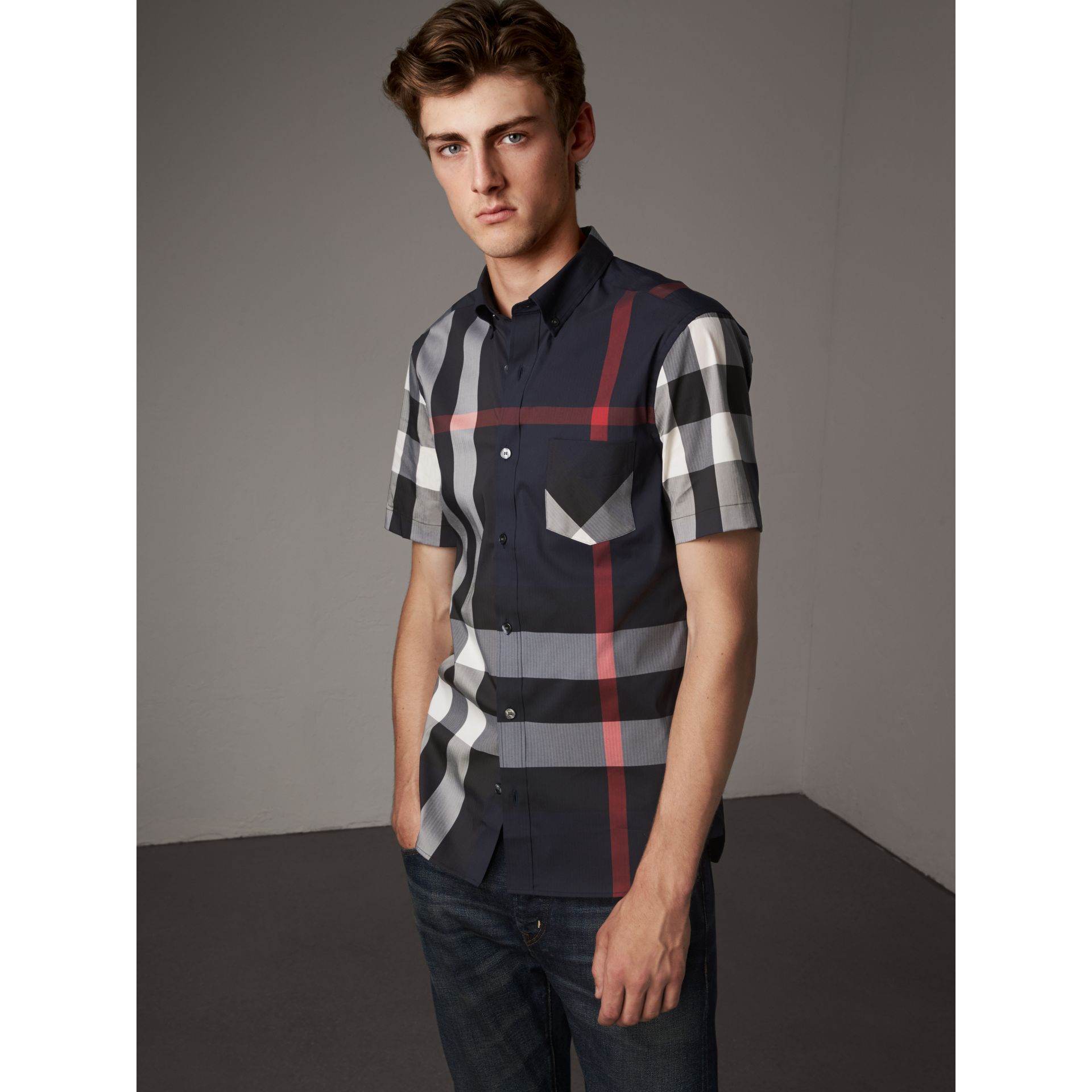 Short-sleeve Check Stretch Cotton Blend Shirt in Navy - Men | Burberry - gallery image 5