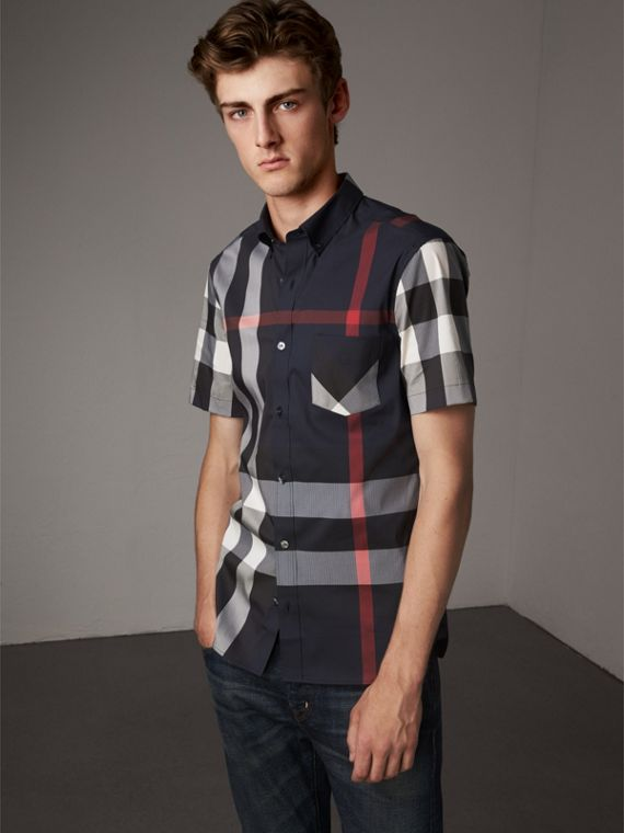 Short-sleeve Check Stretch Cotton Blend Shirt in Navy - Men | Burberry Hong Kong - cell image 3