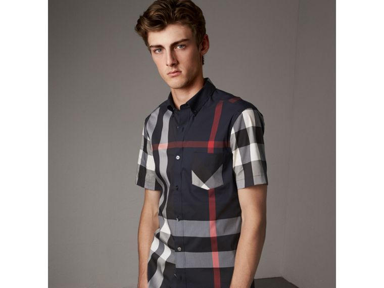 Short-sleeve Check Stretch Cotton Blend Shirt in Navy - Men | Burberry - cell image 4