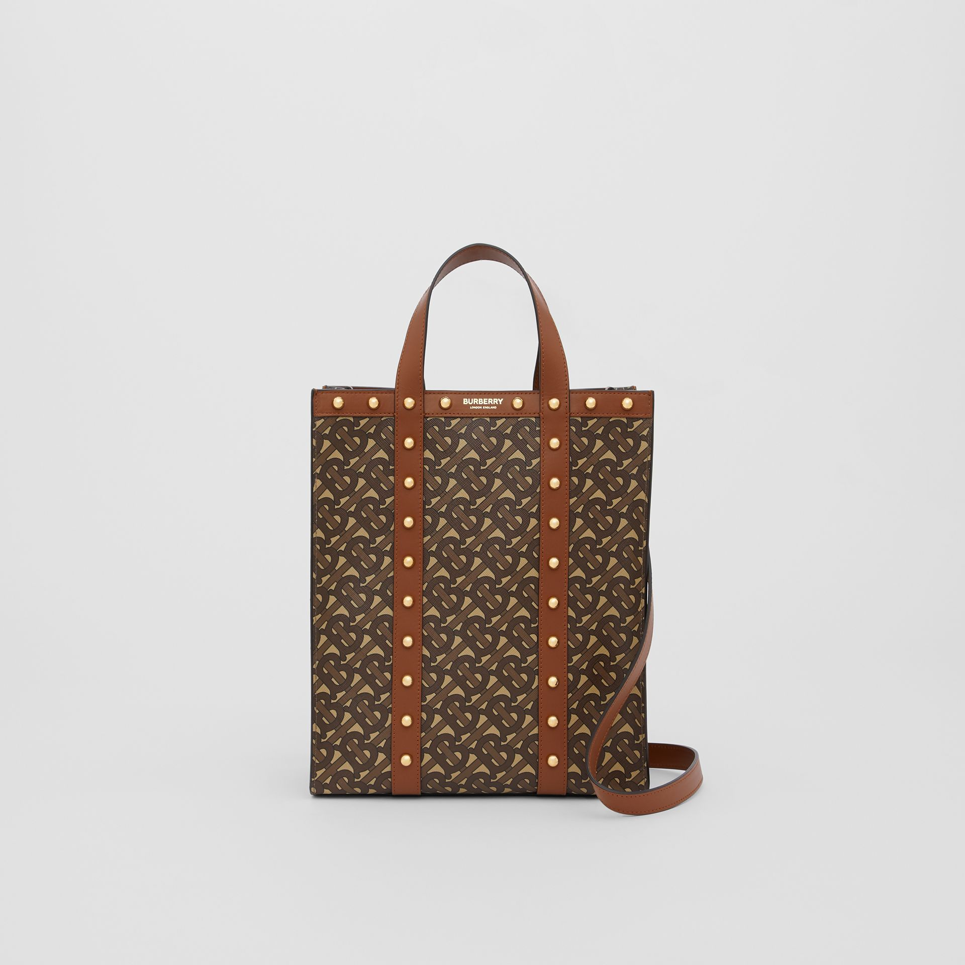 Small Monogram Print E-canvas Portrait Tote Bag in Tan - Women | Burberry - gallery image 0