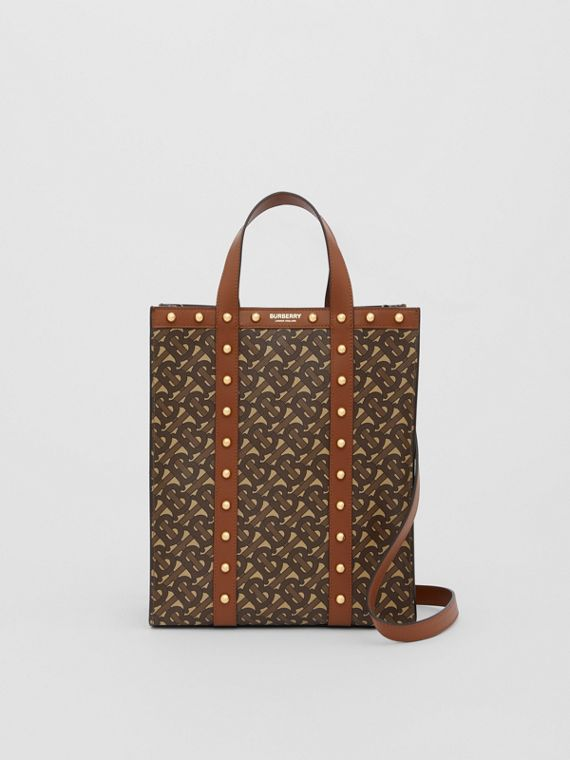 Small Monogram Print E-canvas Portrait Tote Bag in Tan