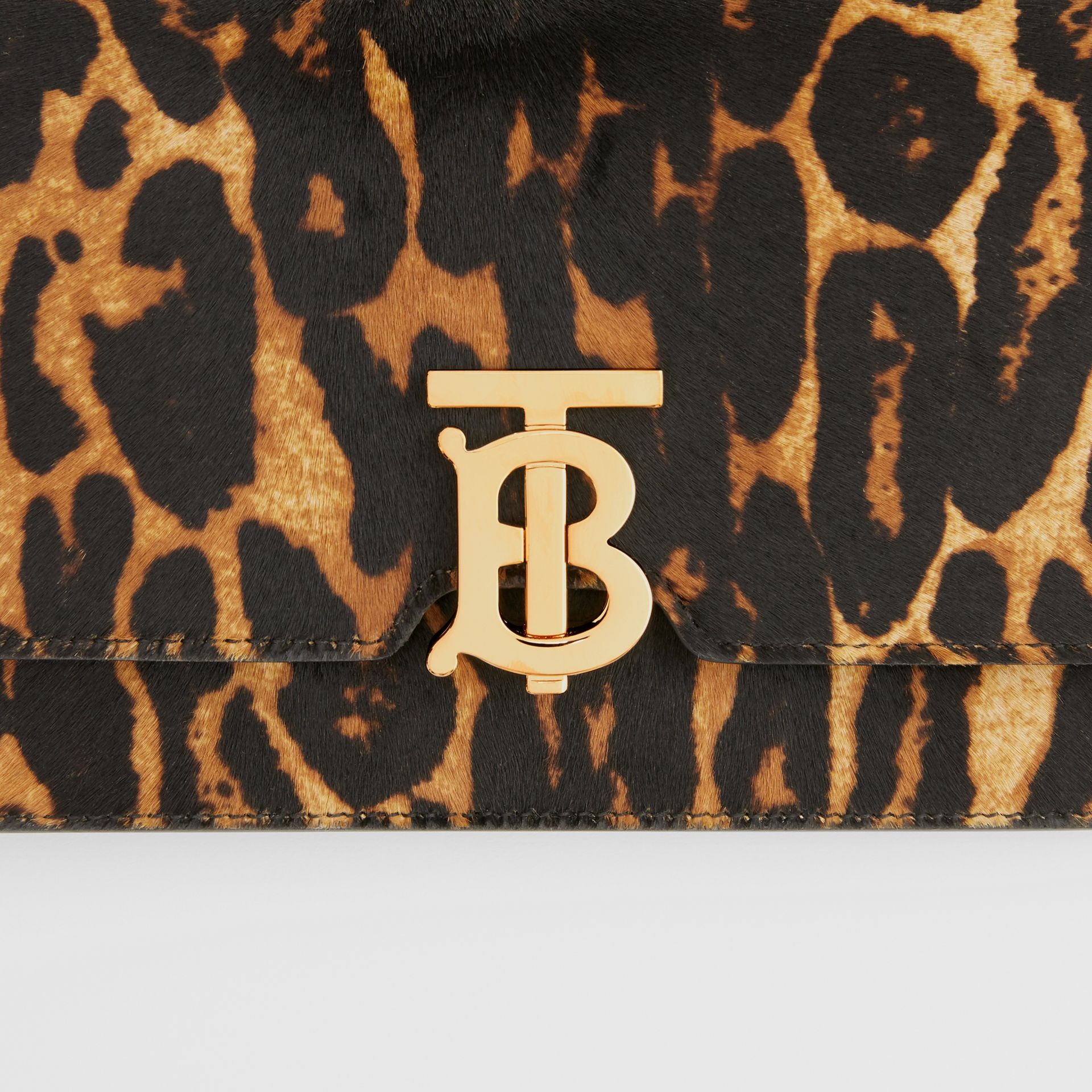 Small Leopard Print Calf Hair Shoulder Bag in Dark Mustard - Women | Burberry United Kingdom - gallery image 1