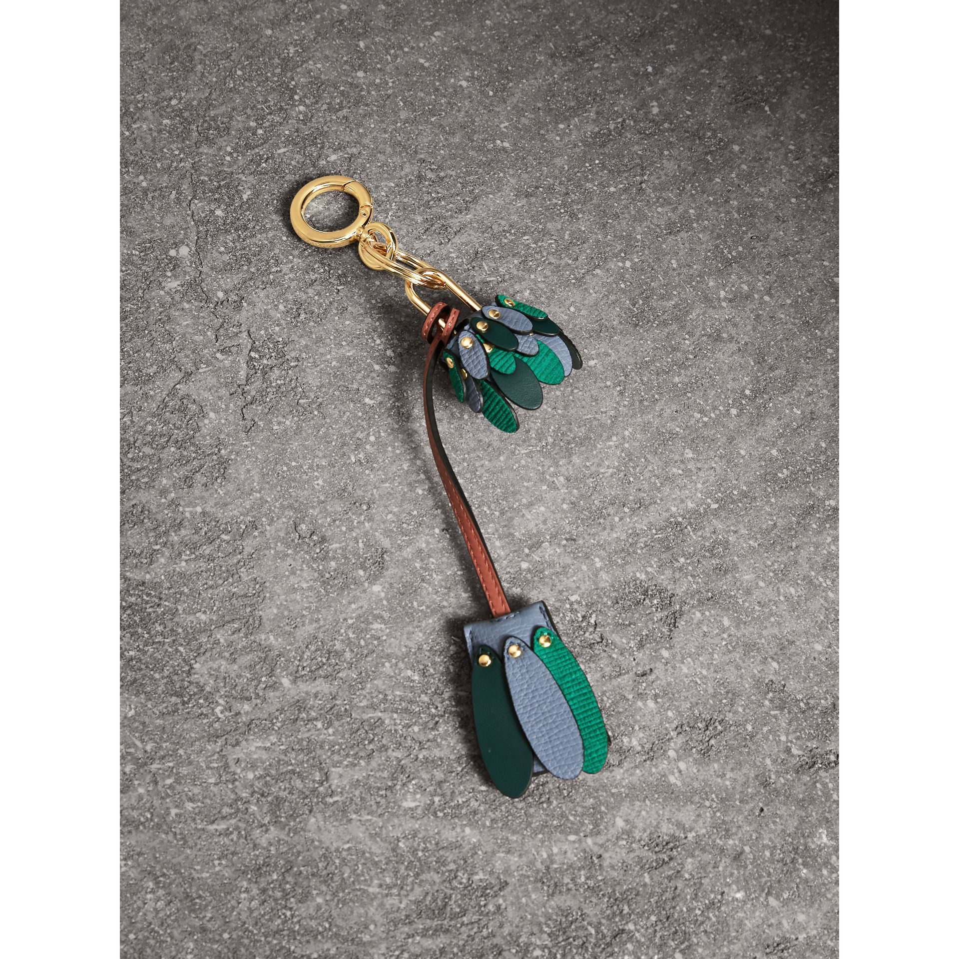 Beasts Leather Key Charm and Padlock in Teal Blue - Women | Burberry - gallery image 1