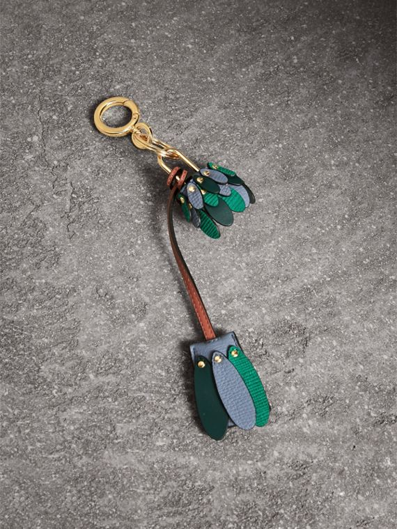 Beasts Leather Key Charm and Padlock in Teal Blue