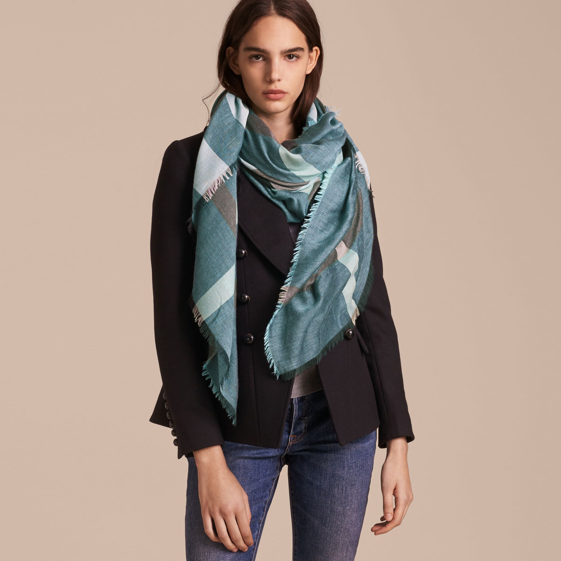 Check Modal and Wool Square Scarf Slate Blue - gallery image 3