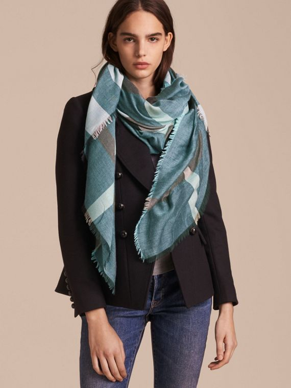 Check Modal and Wool Square Scarf Slate Blue
