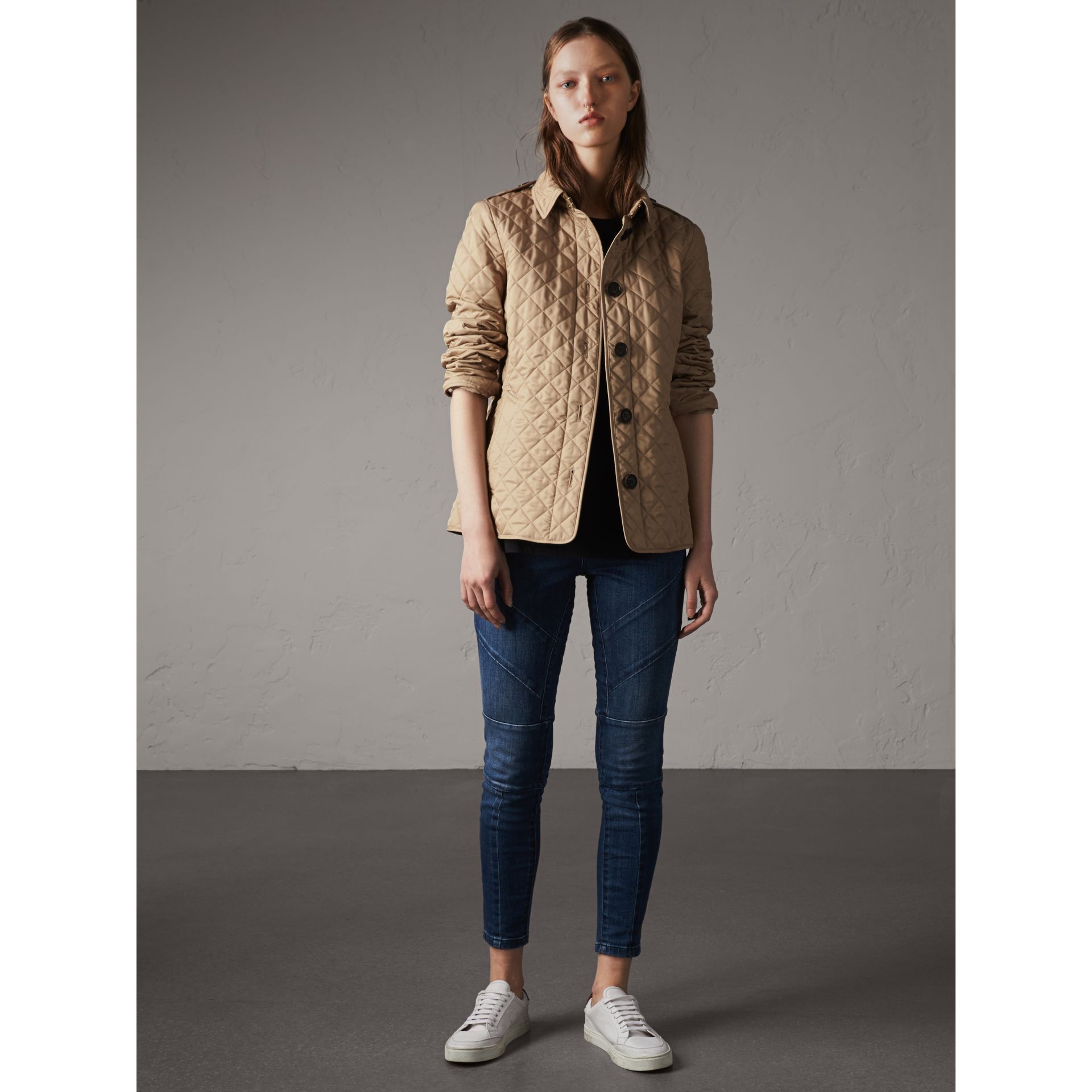 Diamond Quilted Jacket in Canvas - Women | Burberry Singapore - gallery image 1