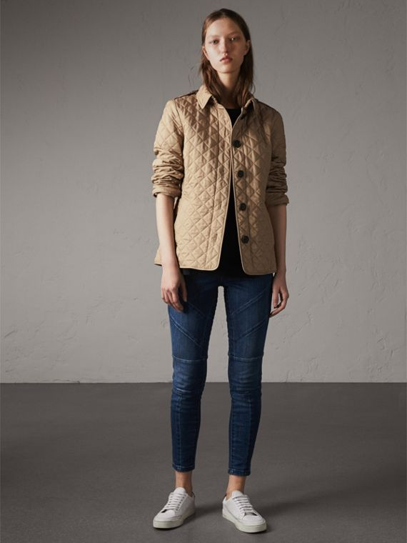Diamond Quilted Jacket in Canvas - Women | Burberry