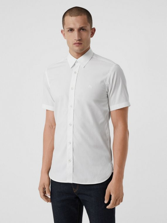 Short-sleeve Stretch Cotton Shirt in White