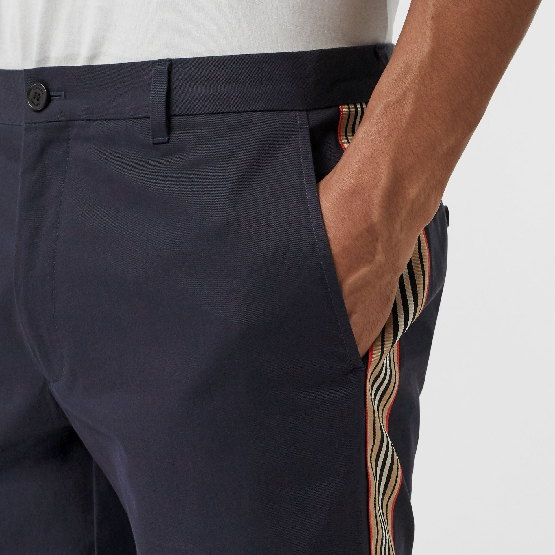 Icon Stripe Detail Cotton Twill Chino Shorts in Navy - Men | Burberry - gallery image 1