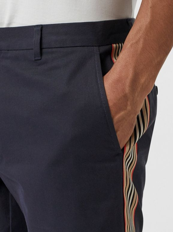 Icon Stripe Detail Cotton Twill Chino Shorts in Navy - Men | Burberry Singapore - cell image 1