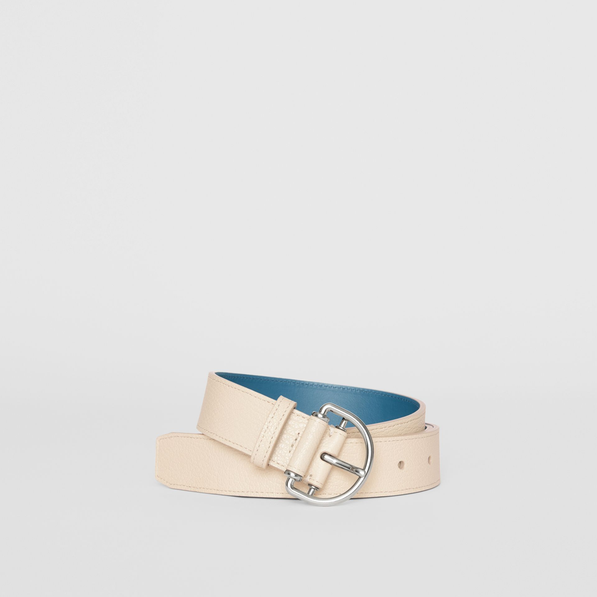 Grainy Leather D-ring Belt in Stone/pewter Blue - Women | Burberry Australia - gallery image 0
