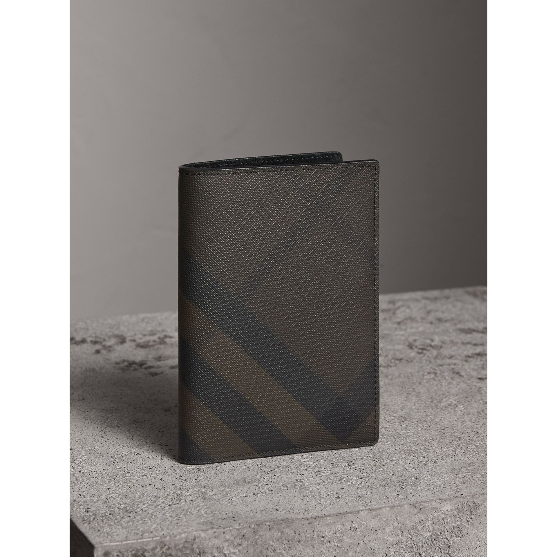 London Check and Leather Passport Holder in Chocolate/black - Men | Burberry - gallery image 1