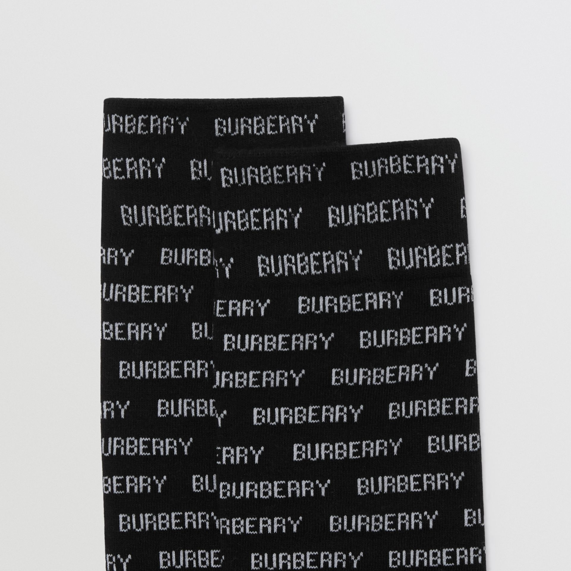 Logo Intarsia Cotton Blend Socks in Black/white - Women | Burberry - gallery image 1