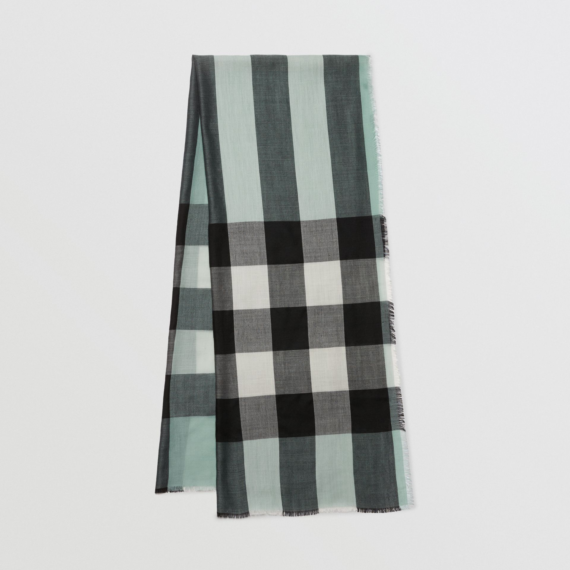 Lightweight Check Cashmere Scarf in Dusty Mint | Burberry - gallery image 4