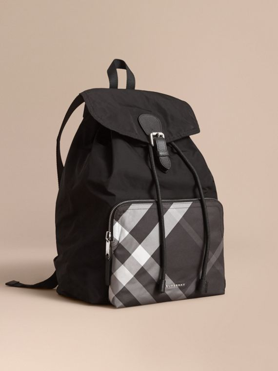 Check Detail Technical Packaway Rucksack Black