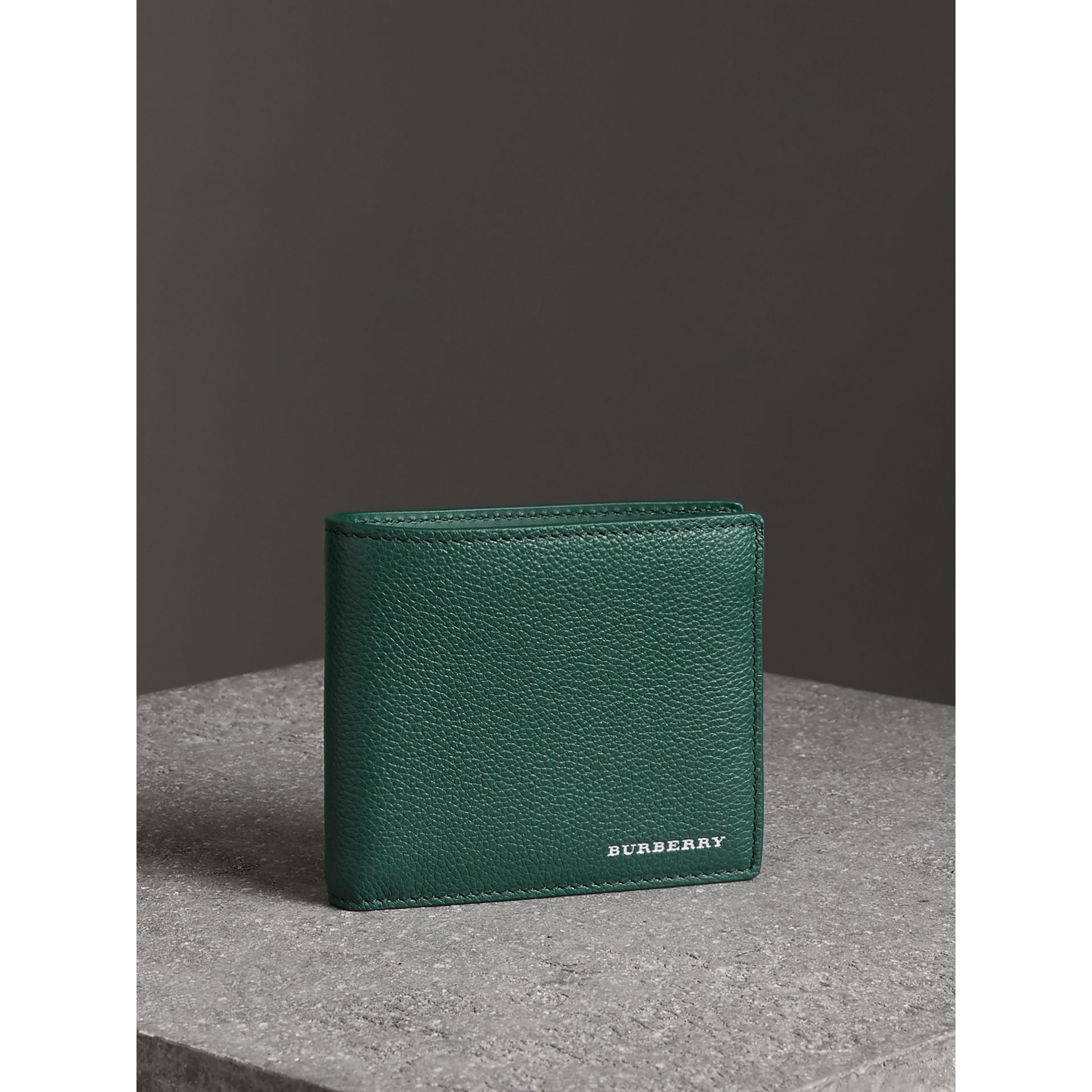 Grainy Leather International Bifold Wallet in Dark Cyan - Men | Burberry - gallery image 4