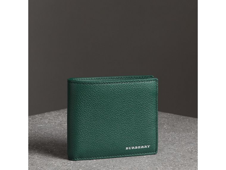 Grainy Leather International Bifold Wallet in Dark Cyan - Men | Burberry Singapore - cell image 4