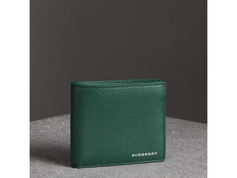 Grainy Leather International Bifold Wallet in Dark Cyan - Men | Burberry Canada - cell image 4
