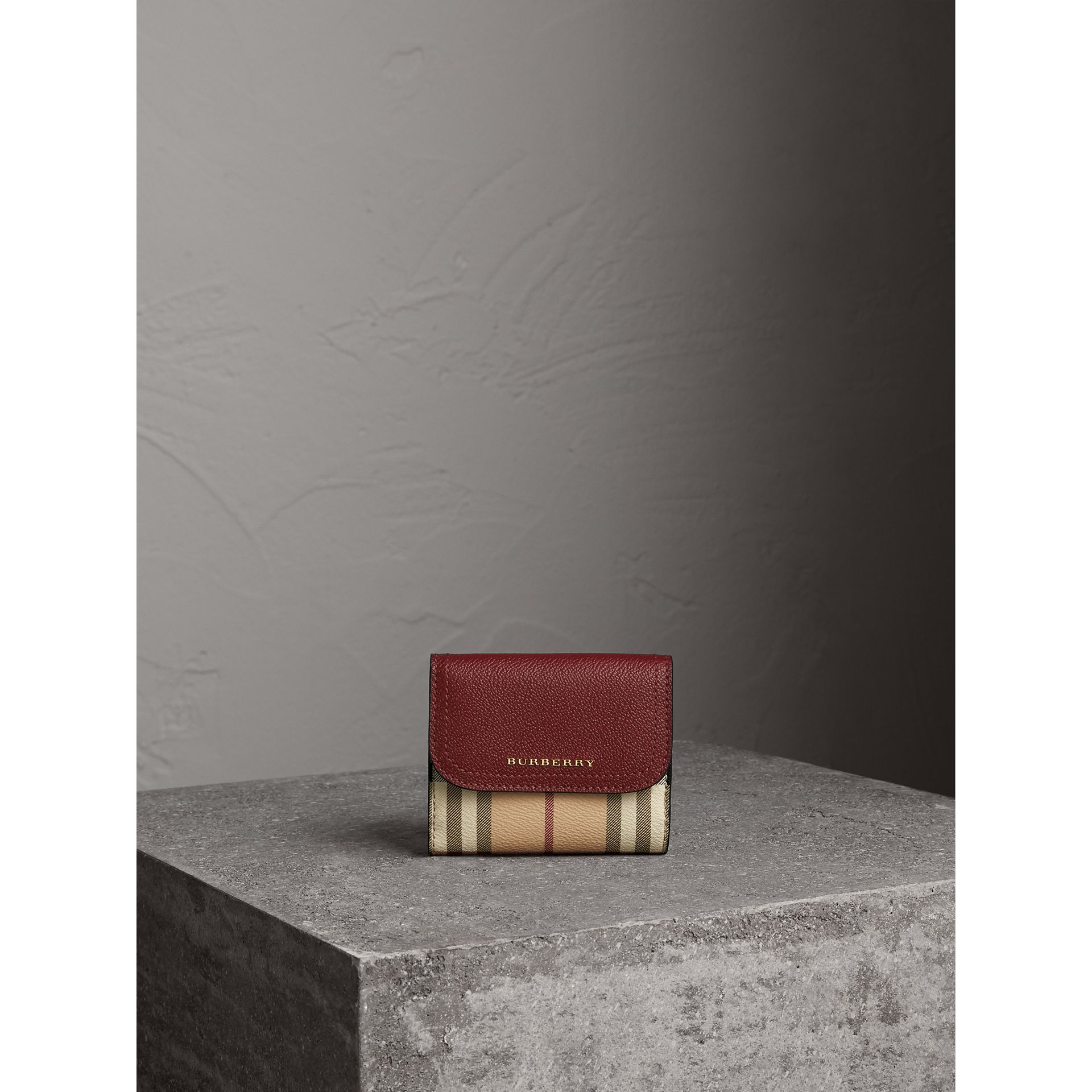 Haymarket Check and Leather Wallet in Burgundy/multicolour - Women | Burberry - gallery image 6