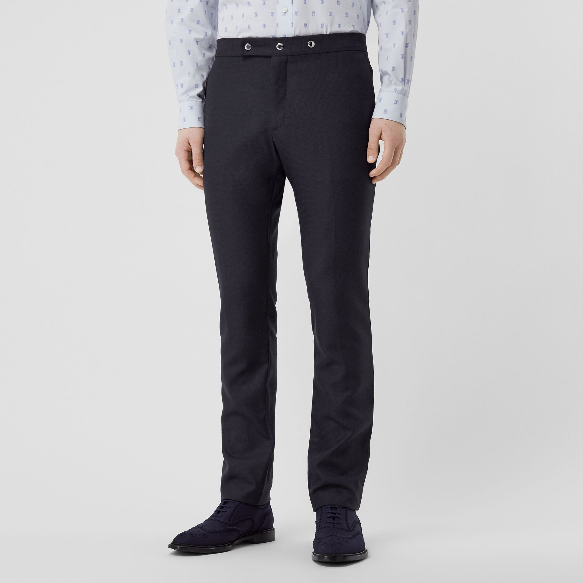 Classic Fit Triple Stud Wool Mohair Tailored Trousers in Midnight Blue - Men | Burberry Canada - gallery image 4
