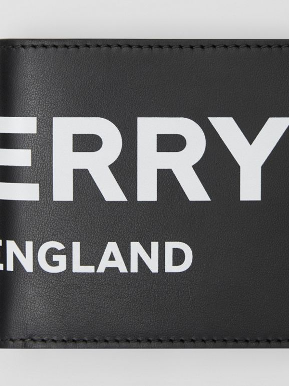 Logo Print Leather Bifold Wallet with ID Card Case in Black | Burberry - cell image 1