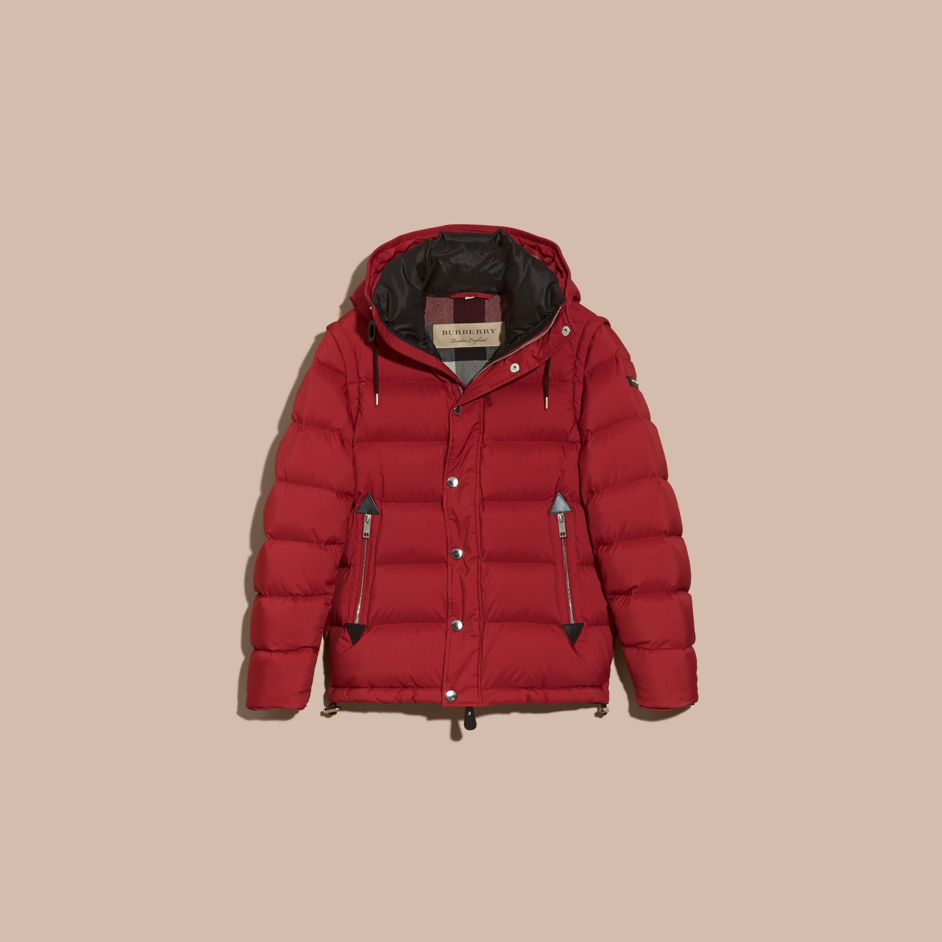 Down-filled Hooded Jacket with Detachable Sleeves in Parade Red - gallery image 4