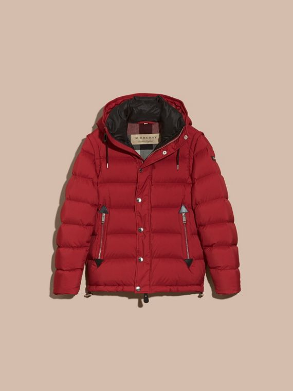 Down-filled Hooded Jacket with Detachable Sleeves in Parade Red - cell image 3