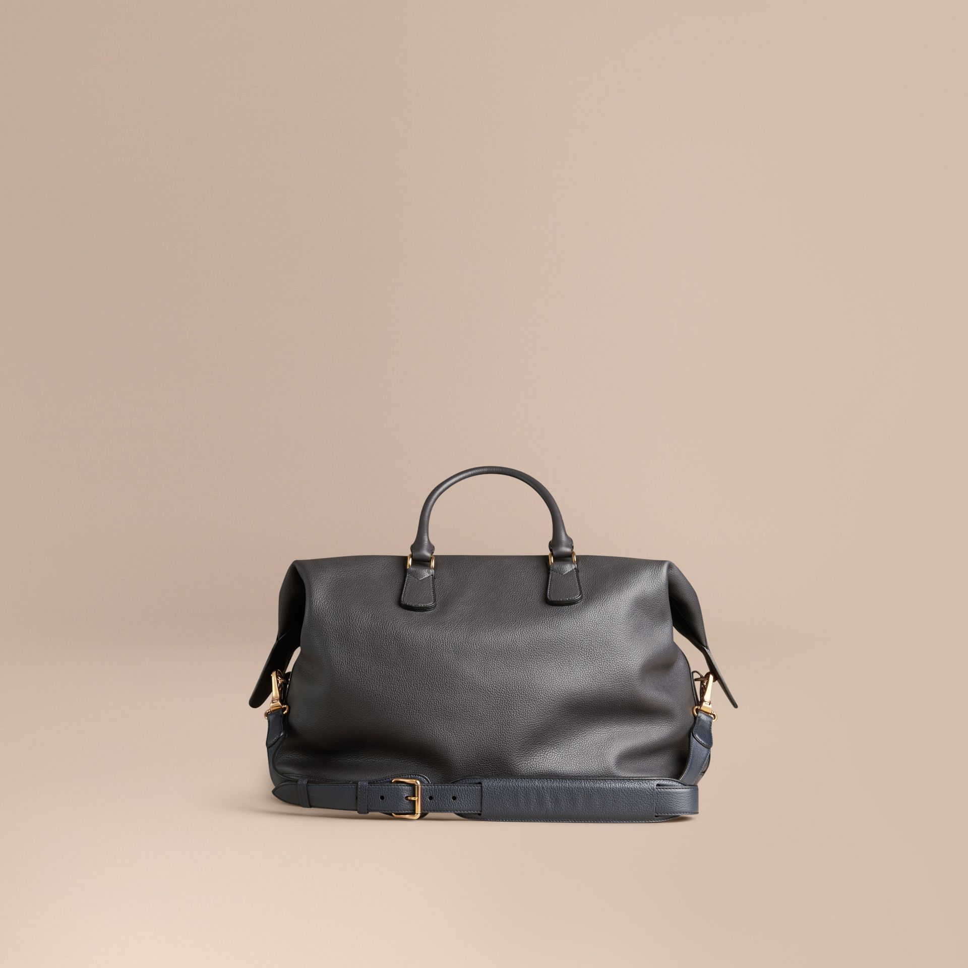 Charcoal Grainy Leather Holdall Charcoal - gallery image 4