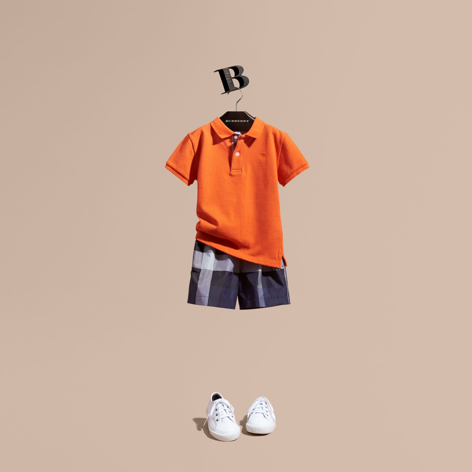 Check Placket Polo Shirt in Clementine | Burberry - gallery image 1