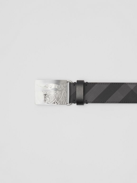 EKD Plaque Buckle London Check and Leather Belt in Charcoal/black - Men | Burberry - cell image 1