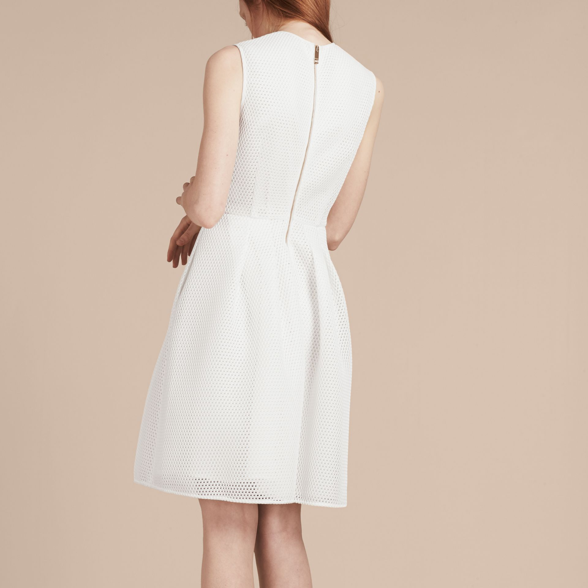 White Mesh Fit and Flare Dress - gallery image 3