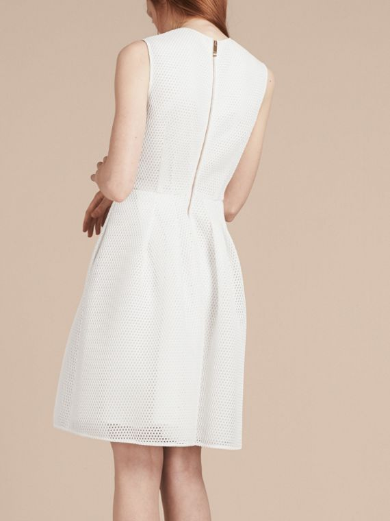 White Mesh Fit and Flare Dress - cell image 2