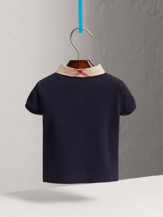 Check Collar Cotton Polo Shirt in True Navy | Burberry United Kingdom - cell image 3
