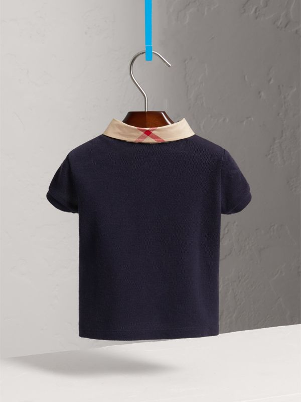 Check Collar Cotton Polo Shirt in True Navy - Children | Burberry - cell image 3