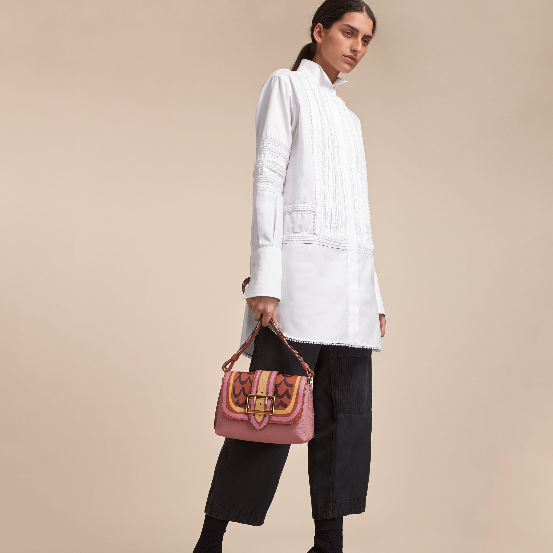 The Buckle Crossbody Bag in Trompe L'oeil Leather in Dusty Pink/bright Toffee - gallery image 8