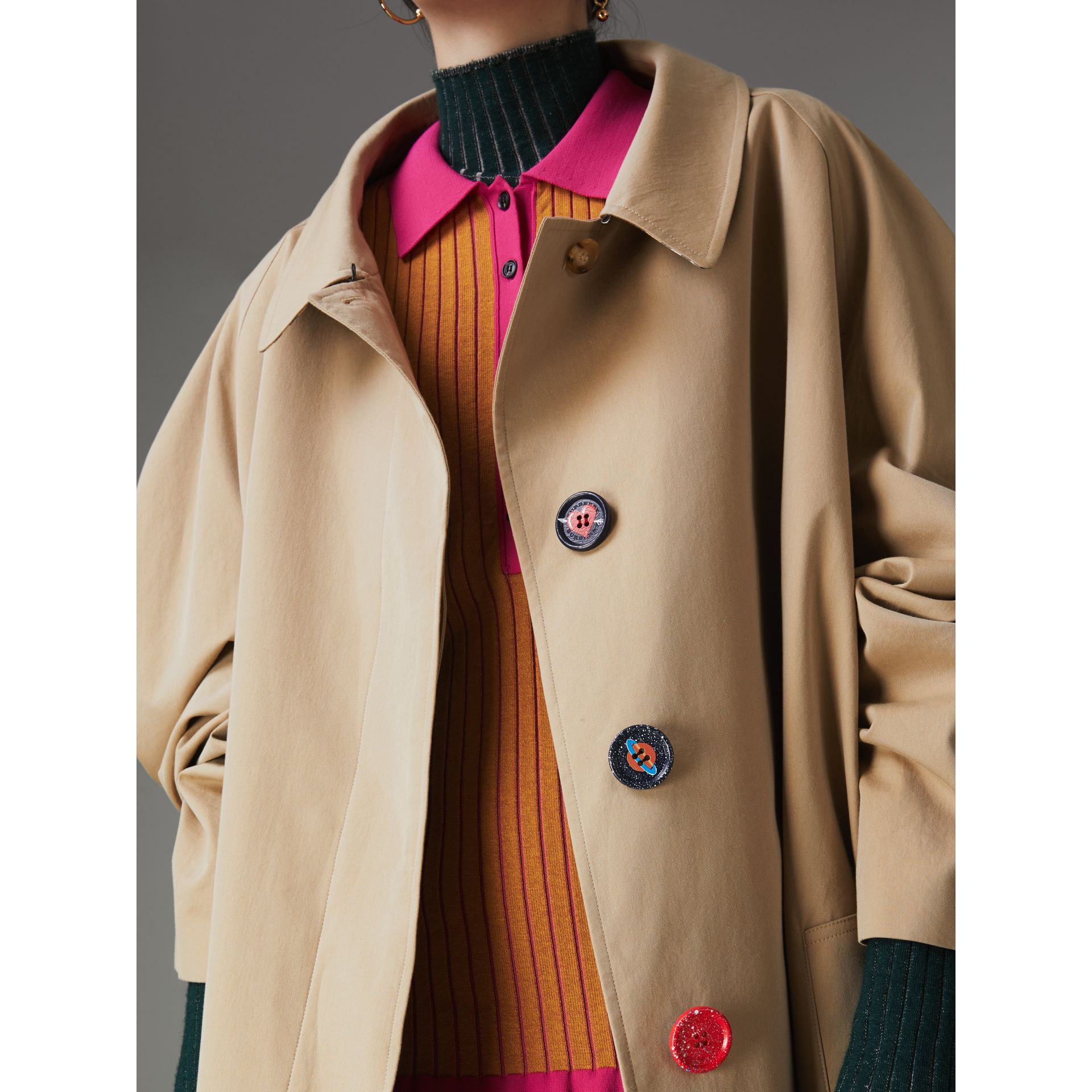 Painted Button Tropical Gabardine Car Coat in Honey - Women | Burberry - gallery image 5