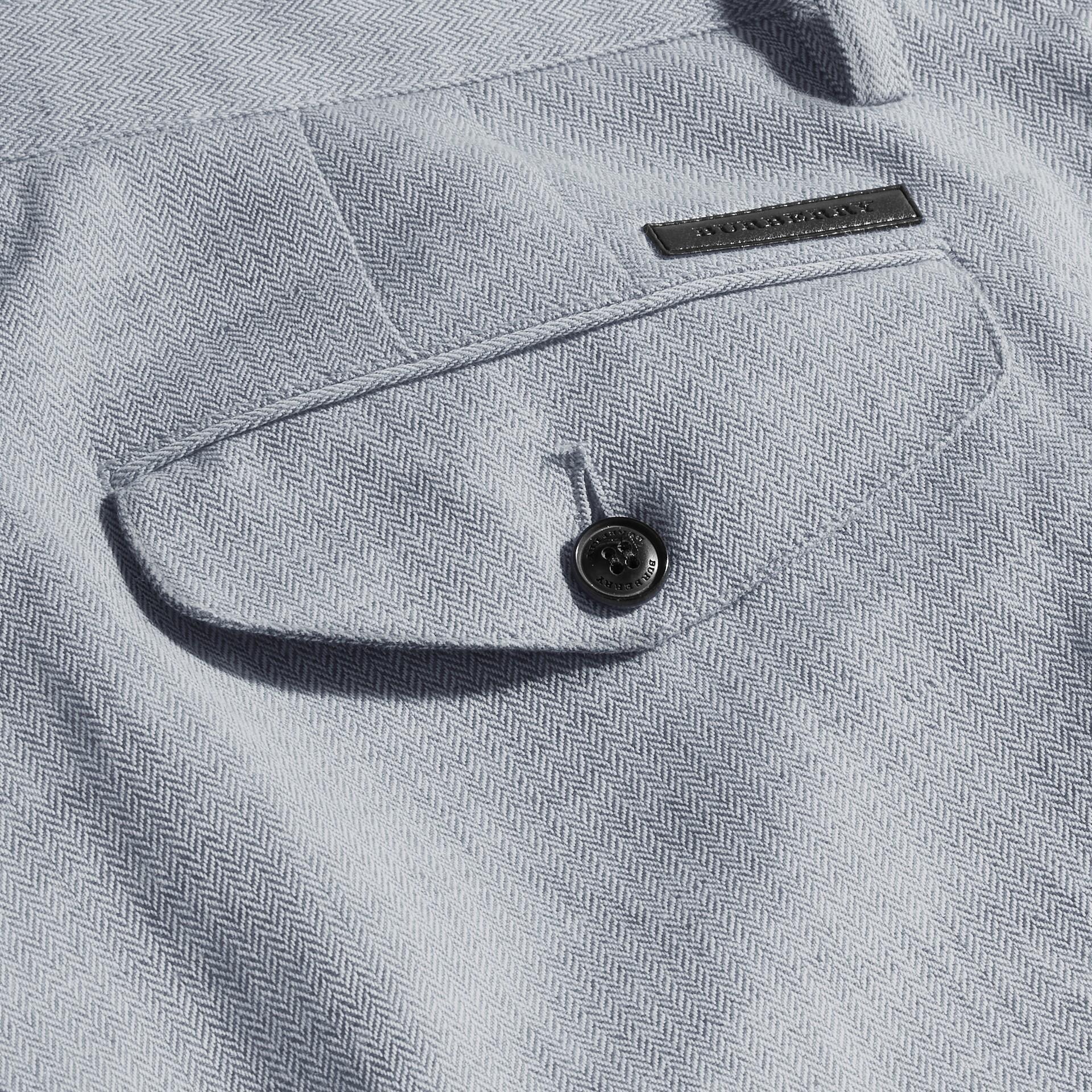Azul pálido Pantalones chinos en algodón y lino Azul Pálido - imagen de la galería 2