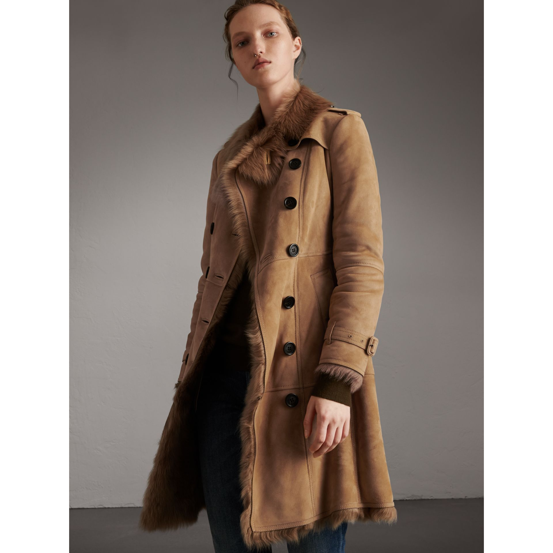 Shearling Trench Coat in Camel - Women | Burberry - gallery image 1