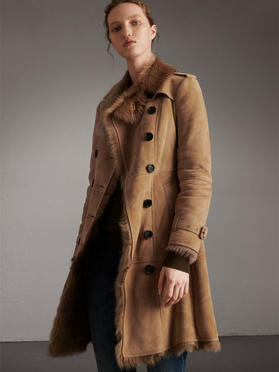 Shearling Trench Coat in Camel