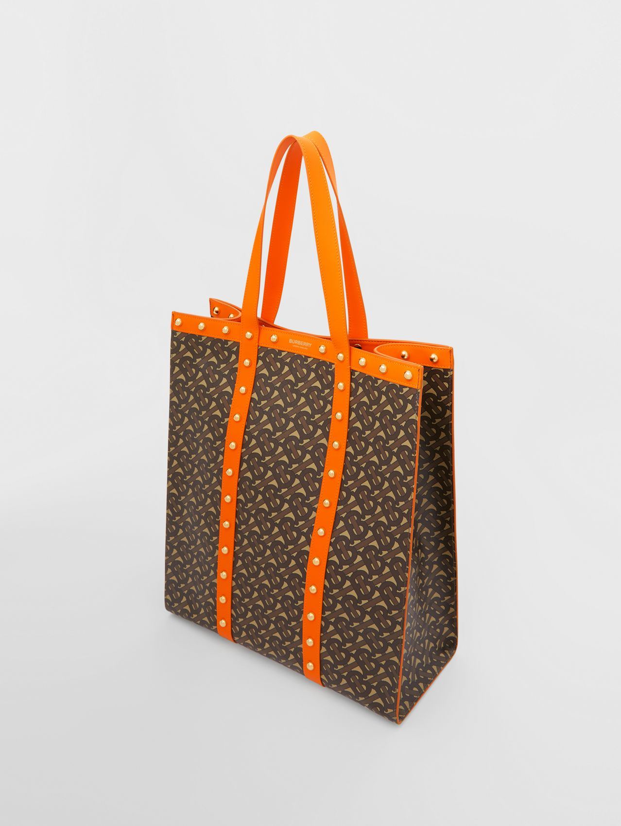 Monogram Print E-canvas Portrait Tote Bag in Bright Orange