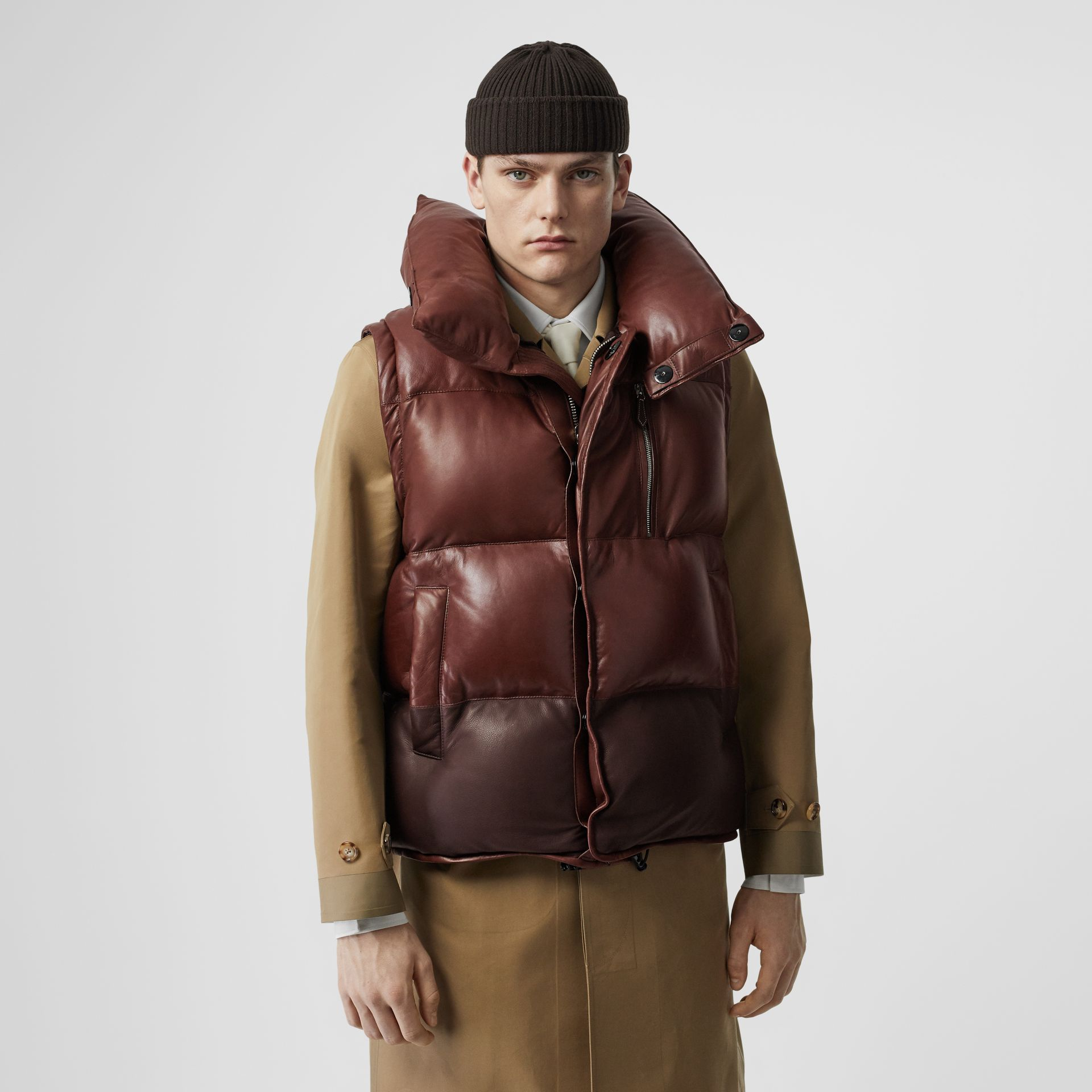 Down-filled Lambskin Puffer Gilet in Dark Mocha - Men | Burberry - gallery image 4