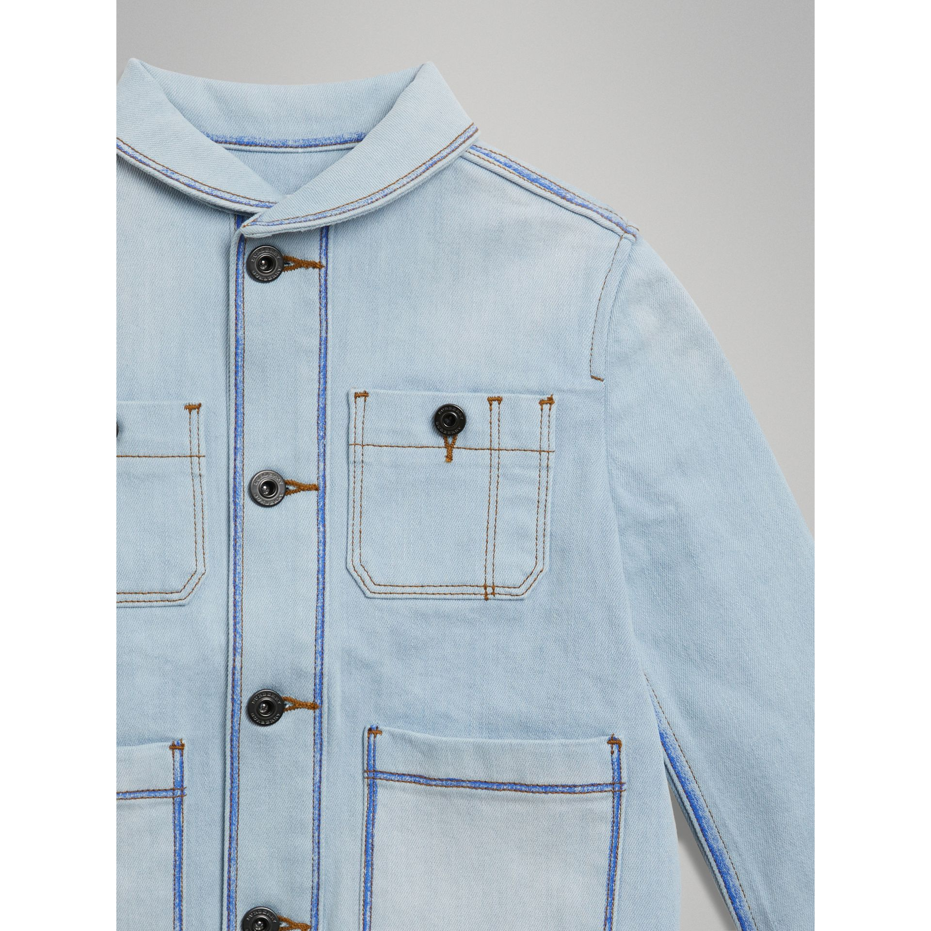 Marker Pen Print Denim Jacket in Light Blue - Girl | Burberry - gallery image 4