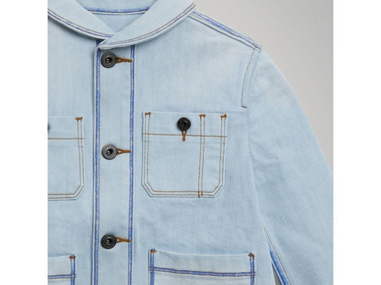 Marker Pen Print Denim Jacket in Light Blue - Girl | Burberry - cell image 4