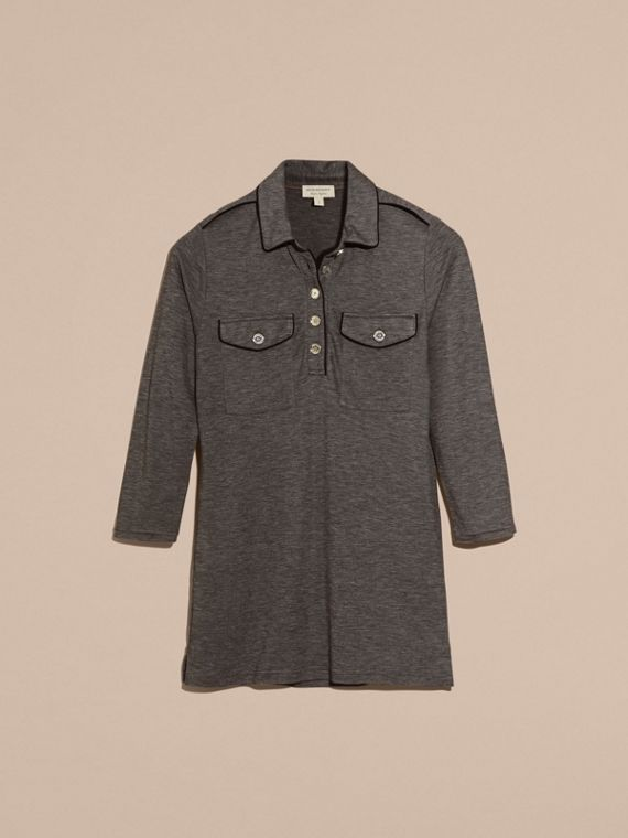 Mid grey melange Fitted Polo Shirt with Regimental Piping Mid Grey Melange - cell image 3