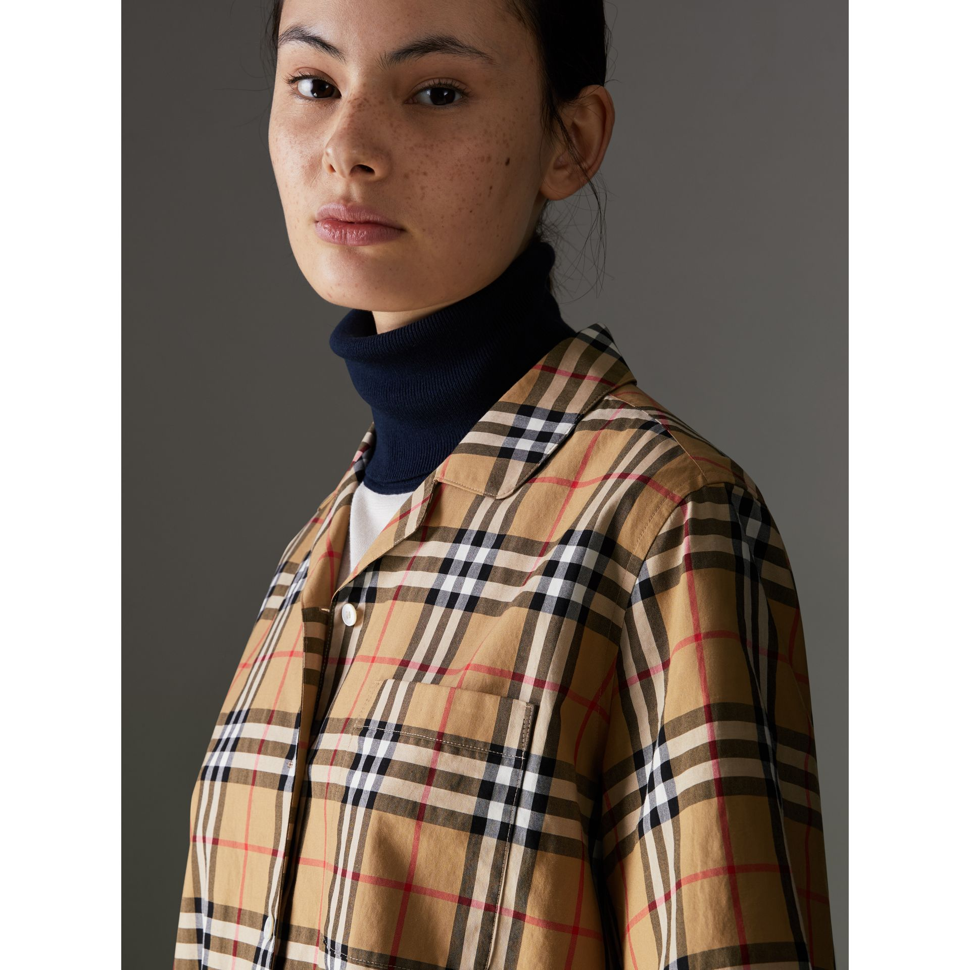 Short-sleeve Vintage Check Shirt in Antique Yellow - Women | Burberry United Kingdom - gallery image 1