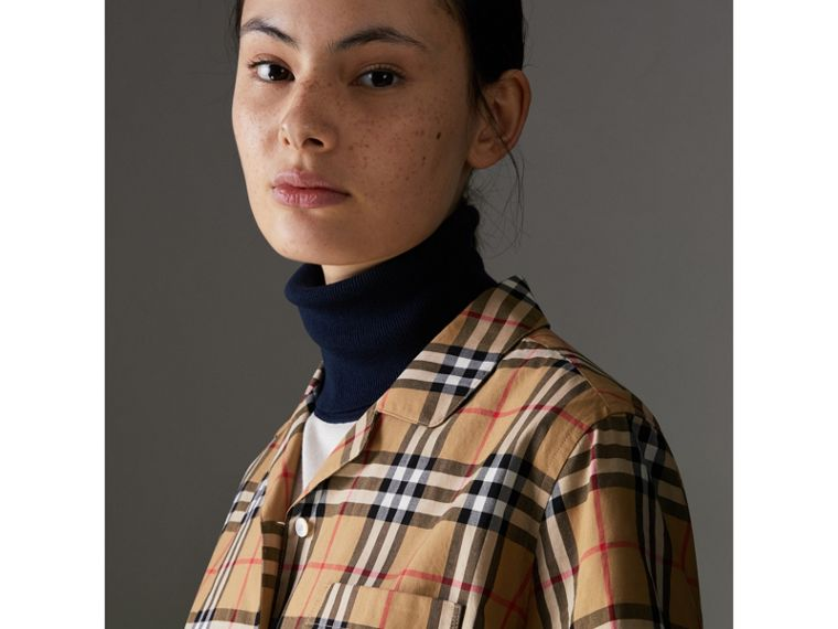 Short-sleeve Vintage Check Shirt in Antique Yellow - Women | Burberry Australia - cell image 1