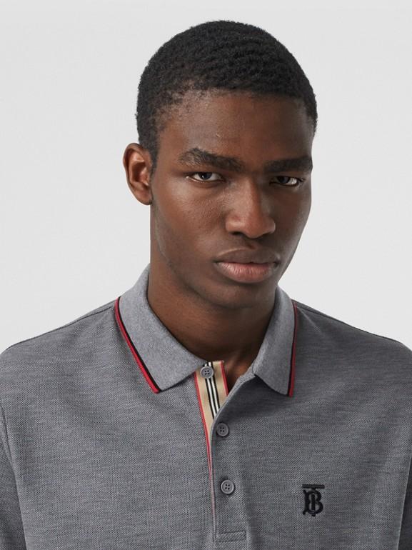 Monogram Motif Cotton Piqué Polo Shirt in Mid Grey Melange - Men | Burberry - cell image 1