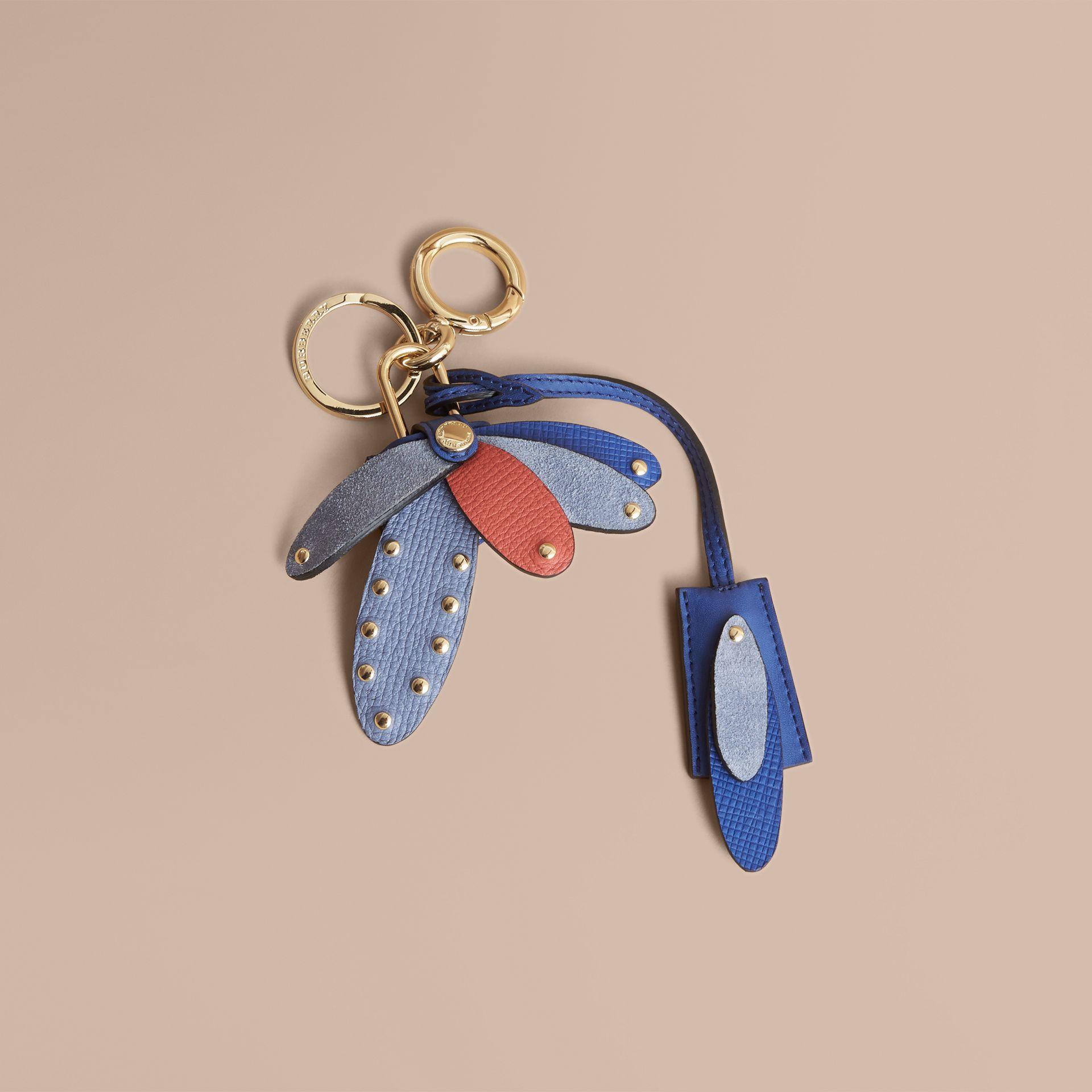 Beasts Leather Key Charm and Padlock in Hydrangea Blue - Women | Burberry - gallery image 0