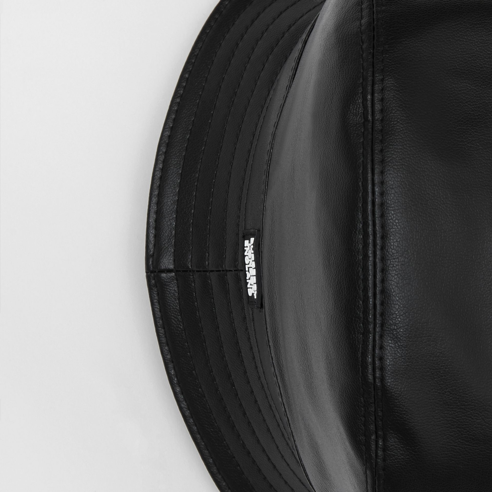 Logo Detail Faux Leather Bucket Hat in Black | Burberry - gallery image 1